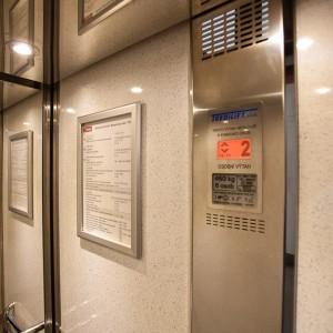 Kabina proskleného výtahu vyrobeného na Vysočině