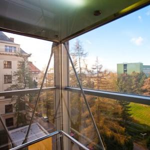 Výhľad z panoramatického výťahu Mendelovej univerzity v Brne